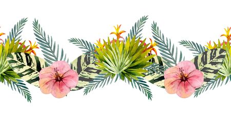 Tropical leaves . Repetition of summer horizontal border. Floral watercolor. Watercolor compositions for the design of greeting cards or invitations. Illustration