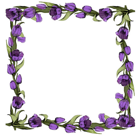 Frame with colored purple tulips. Spring mood. Design of printed materials.