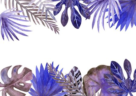 Watercolor frame of colorful tropical leaves. For invitations, greeting cards and Wallpapers. blue tone