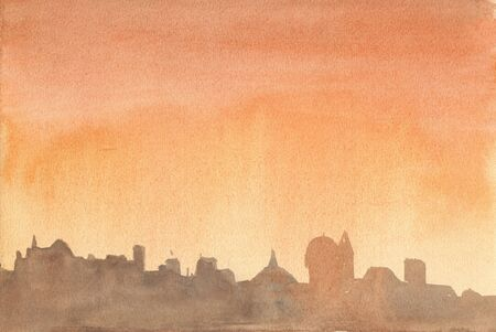 The sky with clouds over the city. Evening. Abstract orange watercolor background divorce