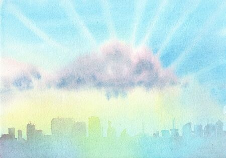 The sky with clouds over the city. Day. Abstract blue watercolor background divorce