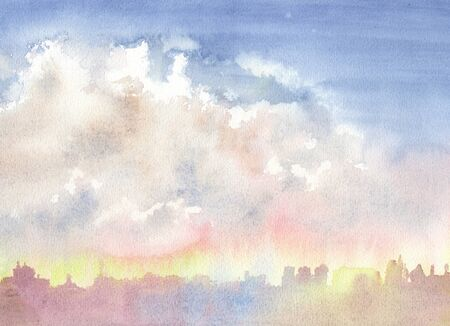 The sky with clouds over the city. Morning. Abstract blue watercolor background divorce Imagens
