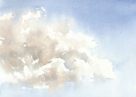 Blue sky with clouds. Abstract blue background with streaks. Watercolor illustration.