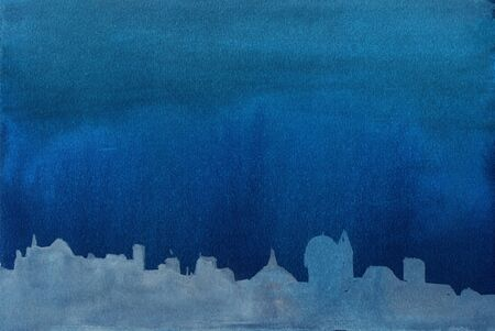 The sky with clouds over the city. night. Abstract blue watercolor background divorce