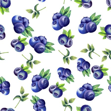 Seamless pattern with ripe blueberries on white isolated background. Watercolor illustration.