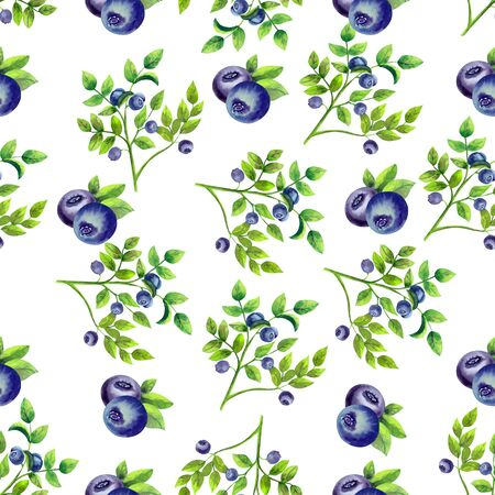 Seamless pattern with ripe blueberries on white isolated background. Watercolor illustration. Stok Fotoğraf - 130502523