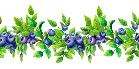 Blueberry. Repetition of summer horizontal border. Floral watercolor. Watercolor compositions for the design of greeting cards or invitations. Watrcolor Illustration Stok Fotoğraf - 130502576