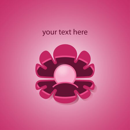 Pink pearl in shell on pink background. Flat style, badge, logo. Vector illustration.