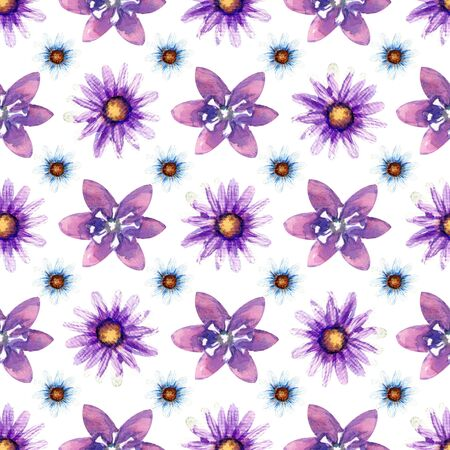 Seamless pattern with wildflowers on white background. Floral pattern for Wallpaper or fabric. Watercolor illustration. Element of packaging design, invitations, cards, etc.