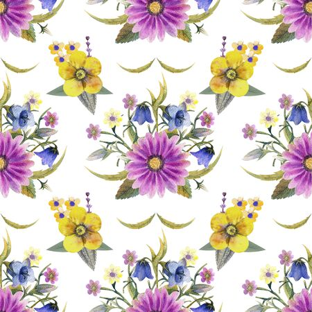 Seamless pattern with wildflowers and leaves on white background. Floral pattern for Wallpaper or fabric. Watercolor illustration. Element of packaging design, invitations, cards, etc. 写真素材