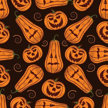 Seamless pattern on a dark background on the holiday - Halloween. Pumpkins, a Ghost, a bat. Vector illustration. Zdjęcie Seryjne - 130810138