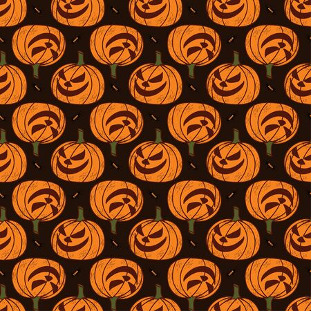 Seamless pattern on a dark background on the holiday - Halloween. Pumpkins, a Ghost, a bat. Vector illustration.