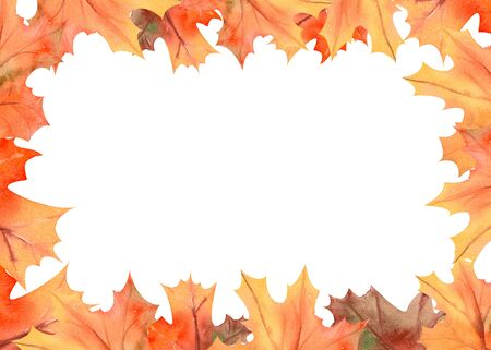 Frame with autumn leaves on white isolated background . Horizontal frame orientation . Watercolor compositions for the design of greeting cards or invitations.