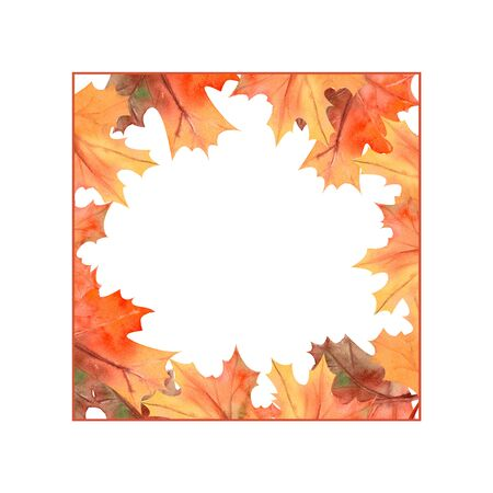 Square frame with autumn leaves on white isolated background . Watercolor illustration.