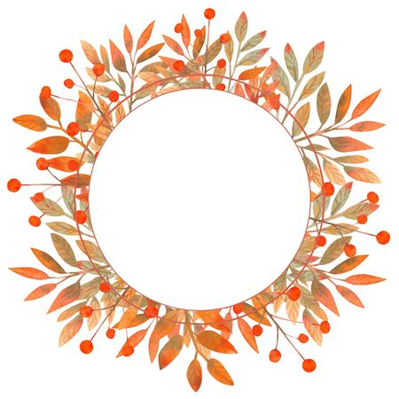 Round frame with autumn leaves on white isolated . Watercolor illustration. Stock Photo