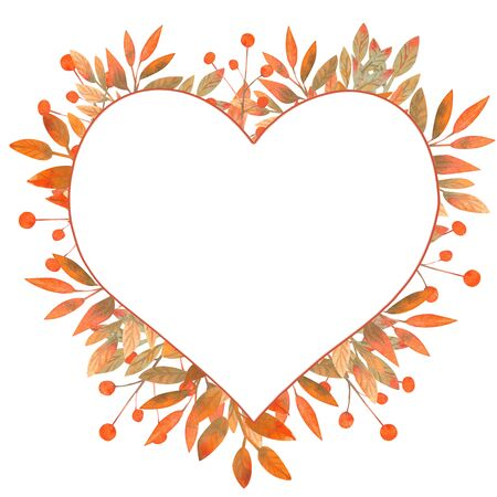 Frame in the shape of a heart with autumn leaves on white isolated background . Watercolor illustration.