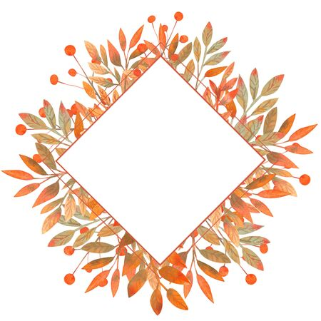 Diamond-shaped frame with autumn leaves on a white isolated background . Watercolor illustration.