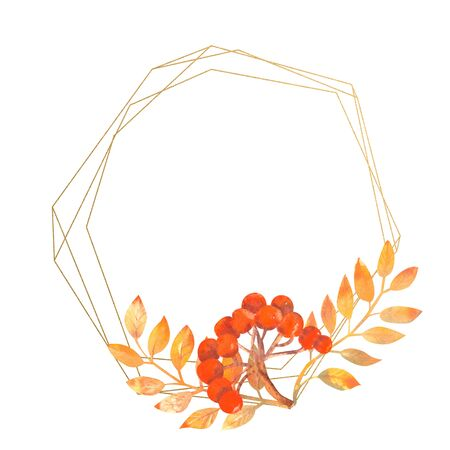 Gold frame with autumn leaves and mountain ash on white isolated background. Watercolor illustration Stok Fotoğraf