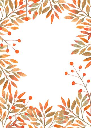 Frame with autumn leaves on white isolated background . Vertical frame orientation . Watercolor compositions for the design of greeting cards or invitations.