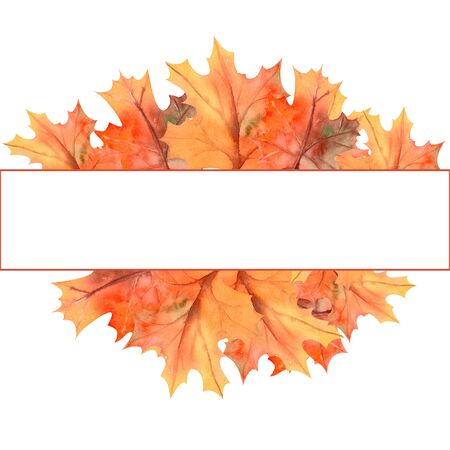 Rectangular frame with autumn leaves on white isolated background . Watercolor illustration. Stock Photo
