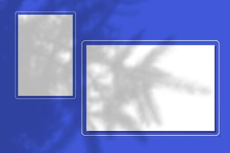 2 sheets of paper on a blue background. Layout with the imposition of the shadow of a spruce branch. Natural light casts a shadow from above.