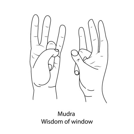 Fingers yoga is mudra the wisdom of the window. Outline black and white pattern on white isolated background. Vector illustration.
