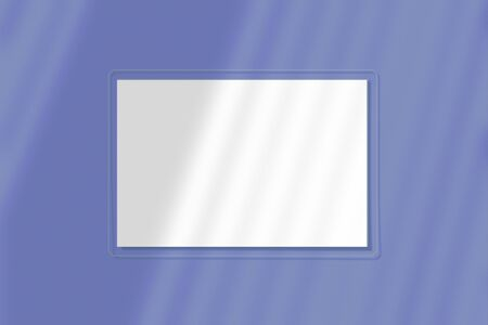 A sheet of paper on a blue background. The layout with the imposition of blinds. Natural light casts a shadow from above