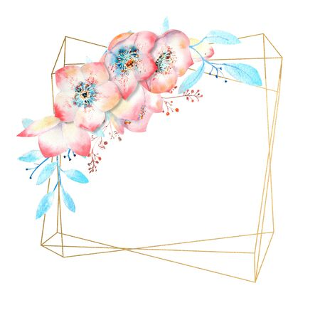 Pink hellebore flowers on a gold polygonal frame on a white isolated background. Watercolor compositions for decoration of greeting cards or invitations 스톡 콘텐츠