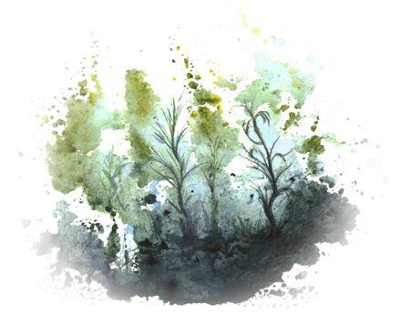 Underwater world, algae, underwater plants in watercolor. Abstract illustration.