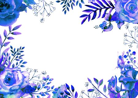 Frame framed with blue rose flowers. Flower poster, invitation. Watercolor compositions for the decoration of greeting cards or invitations. Horizontal orientation.