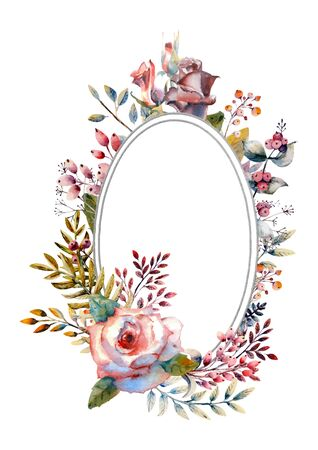 Red, pink watercolor roses, flowers, berries in a oval frame on a white isolated background. Bright flowers, leaves, for wedding greetings, Wallpaper, fashion, background, texture, packaging. Vector illustratration