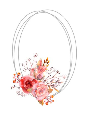 Red, pink watercolor roses, flowers, berries in a oval frame on a white isolated background. Bright flowers, leaves, for wedding greetings, Wallpaper, fashion, background, texture, packaging. Vector illustratration Foto de archivo - 137897017
