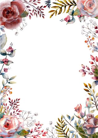 Set red watercolor roses in a vertical orientation frame on a white isolated background. Bright flowers, leaves, for wedding greetings, Wallpaper, fashion, background, texture, packaging. Vector illustration