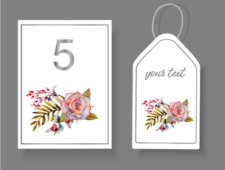 Postcards with a floral arrangement of roses, twigs, leaves on an isolated white background for decorating wedding paraphernalia. Vector illustration