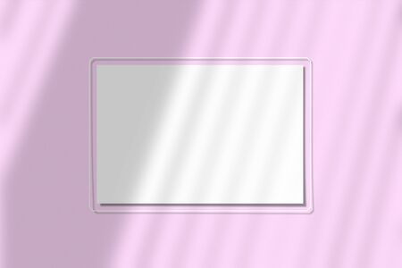 A piece of paper on a pink background. Layout with the shadow of blinds. Natural light casts a shadow from above. Scene of an exotic plant from the window.