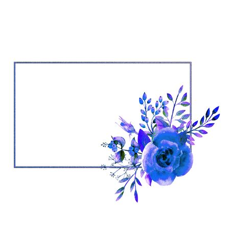 The geometric frame is framed with Blue rose flowers on a white isolated background. Flower poster, invitation. Watercolor compositions for the decoration of greeting cards or invitations. orientation Stockfoto