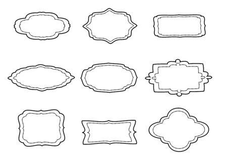 A set of 9 vintage text frames. Vector illustration. Standard-Bild - 139697311