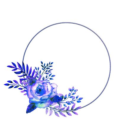 The geometric frame is framed with Blue rose flowers on a white isolated background. Flower poster, invitation. Watercolor compositions for the decoration of greeting cards or invitations. Stockfoto