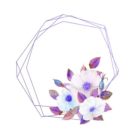 White rosehip flowers, a composition in a geometric blue frame. Floral poster, invitation in purple tones. Watercolor compositions for the decoration of greeting cards or invitations.