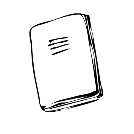 School notebook, sketch on a white isolated background. Style doodle. Vector illustration. Ilustração