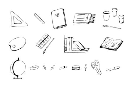 School supplies. Notebook, books, brushes, paints, pencils, buttons, pen, scissors elastic band sharpener and  Sketch Doodle style Vector illustration