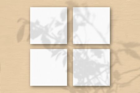 4 square sheets of white textured paper on orange wall background. Mockup overlay with the plant shadows. Natural light casts shadows from an exotic plant.Flat lay, top view. Horizontal orientation