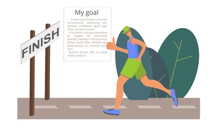 The man runs to the finish line and gives a thumbs-up. The symbol for achieving the goal. Doodle style. Vector illustration. Векторная Иллюстрация