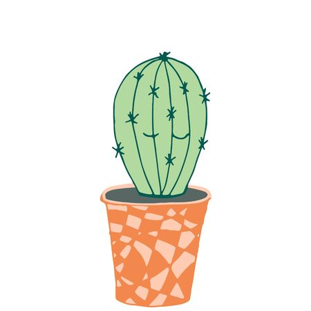 Cactus with funny kawaii face in a cute handmade pot on a white isolated background. Vector illustration.