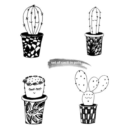 Set of cacti with funny kawaii faces in cute handmade pots on a white isolated background. Black and white vector illustration.