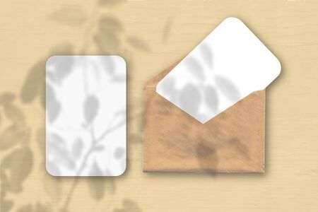 An envelope with two sheets of textured white paper on a peach table background. Mockup with an overlay of plant shadows. Natural light casts shadows from a tropical plant. Horizontal orientation Imagens