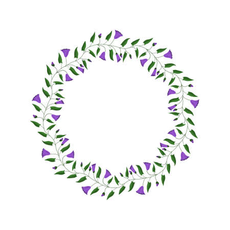 Flower frame. Flowers and leaves of the field bindweed. Vector illustration.