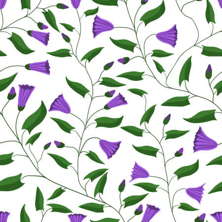 Seamless pattern. Flowers and leaves of the field bindweed. For gift packaging, fabric and other printed products. Vector illustration.