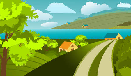 Rural landscape. Houses, trees, river, fields, clouds. In the foreground, you can see the road leading to the house. Doodle style. Vector illustration. 矢量图像