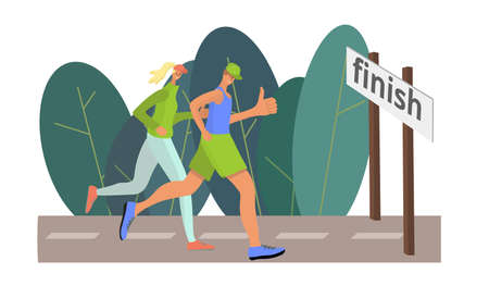 A man and a woman run to the finish line and give a thumbs up. Symbol for achieving the goal. Doodle style. Vector illustration.